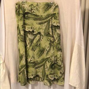 Green floral chiffon skirt